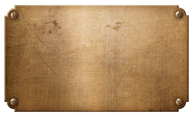 Stary miedziany metalu talerz lub nameboard z nitów 3d ilustracją ilustracja wektor