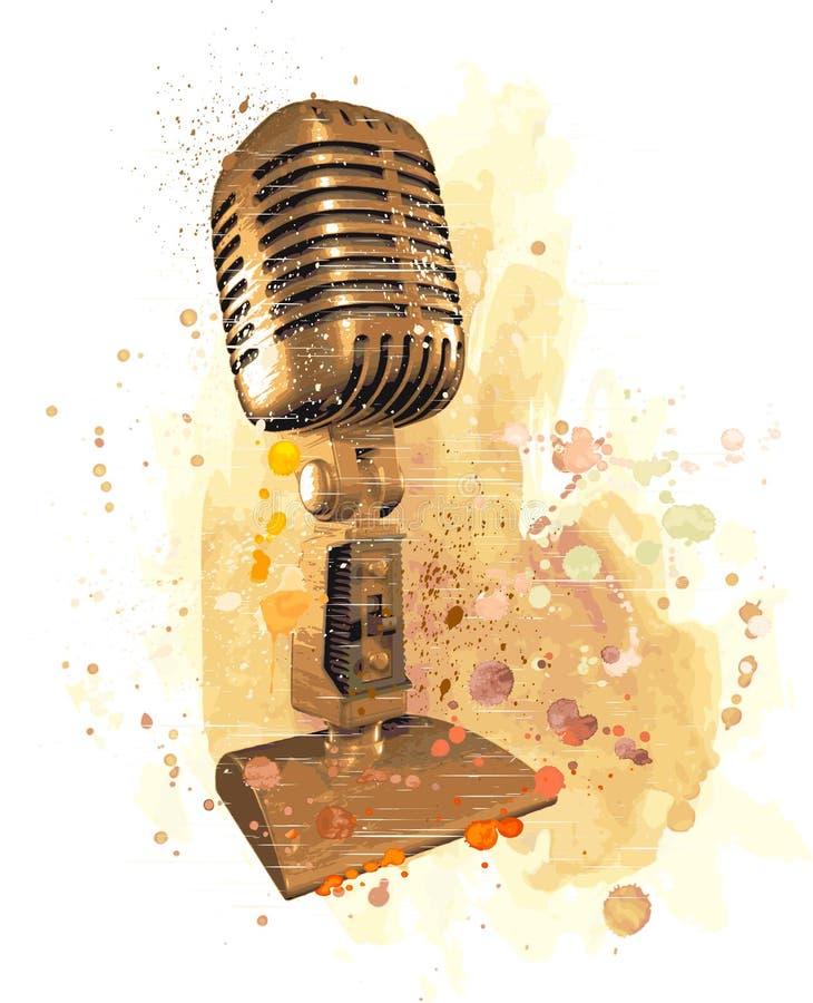 stary mikrofonu ilustracja wektor