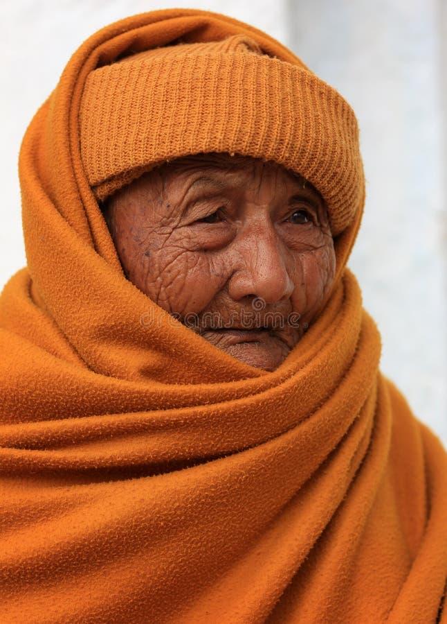 Stary mnich buddyjski zdjęcia royalty free