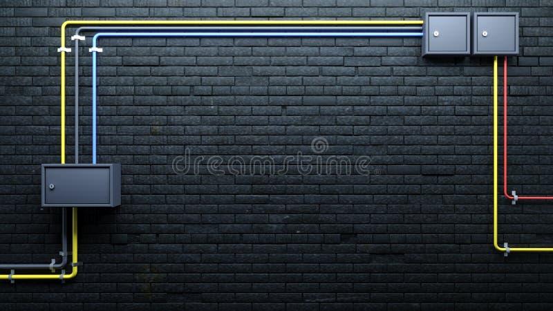 Stary mur z cegły czarnej i komunikacja ilustracji