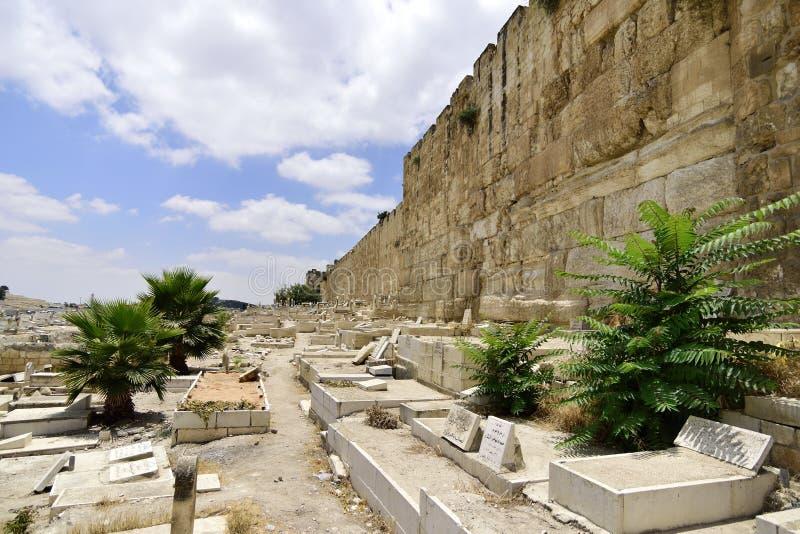 Stary muzułmański cmentarz w Jerozolima, obraz royalty free
