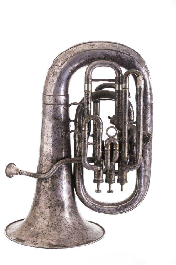 Stary muzykalny wiatrowy instrument odizolowywający na białym tle fotografia stock
