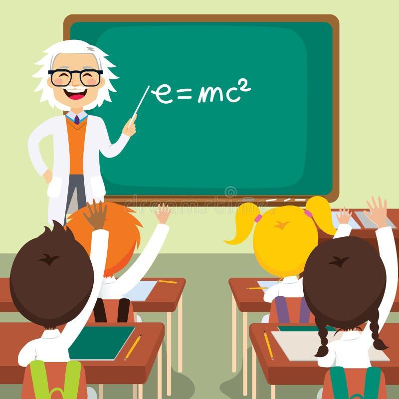 Stary nauczyciel nauk ścisłych ilustracji