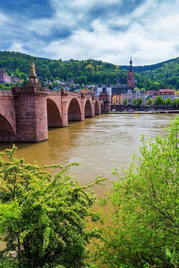 Stary Neckar most i Heidelberg miasto, Niemcy fotografia royalty free