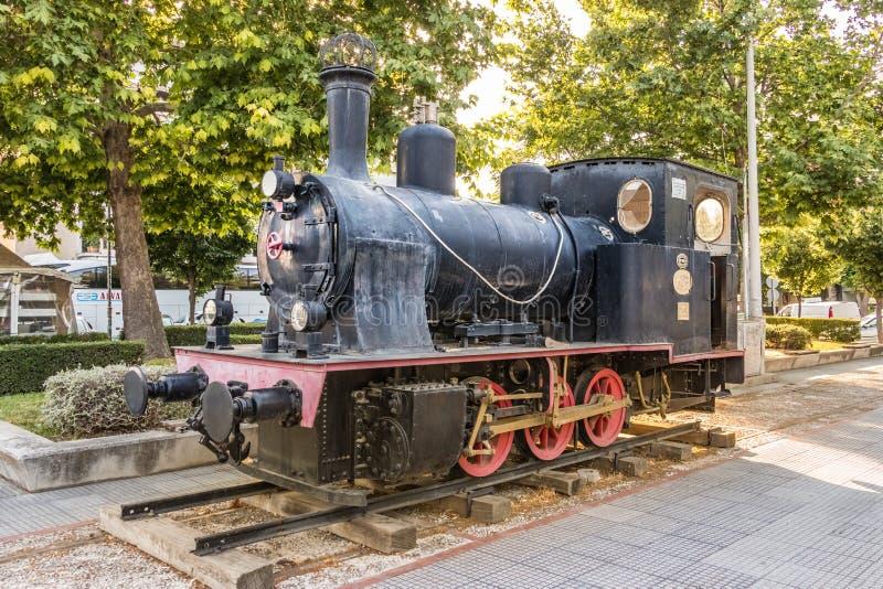 Stary niemiecki lokomotoryczny Krupp w Larissa staci, Grecja zdjęcia royalty free