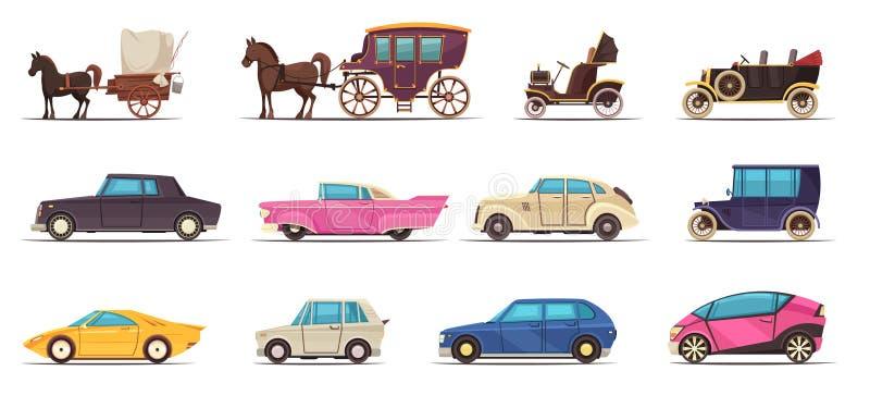 Stary Nowożytny Zmielony transportu set ilustracja wektor