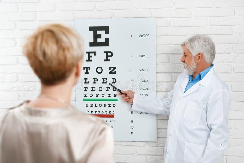 Stary oftalmolog cheking cierpliwego ` s wzrok fotografia royalty free