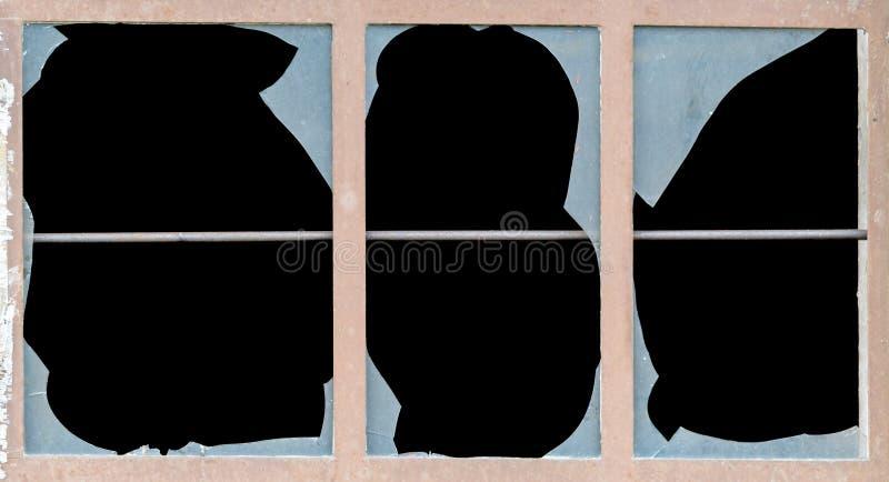 Stary okno z łamanymi taflami szkło obrazy stock