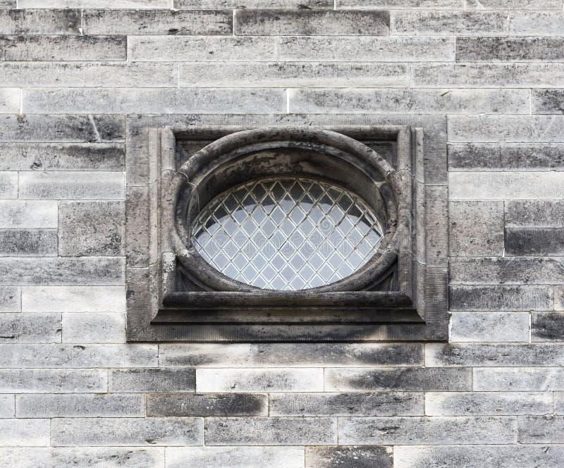 Stary owalny okno z barami obrazy royalty free