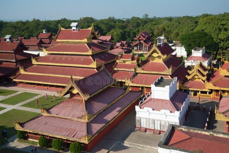 Stary pałac królewski w starym mieście Mandalay, Myanmar obrazy stock
