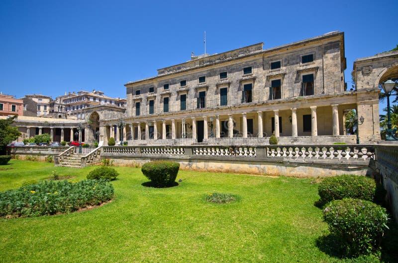 Stary pałac w Corfu miasteczku, Grecja zdjęcie stock