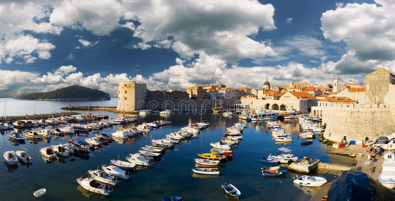 stary panoramiczny portowy widok zdjęcie royalty free