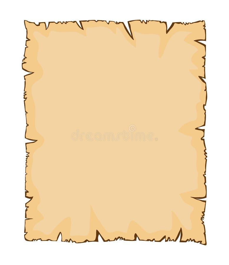 Stary papier, drzejący pergaminowy wektorowy symbol ikony projekt royalty ilustracja