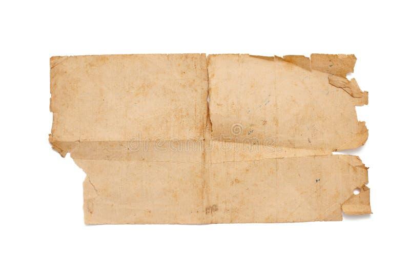 Stary papier odizolowywający na bielu obraz royalty free
