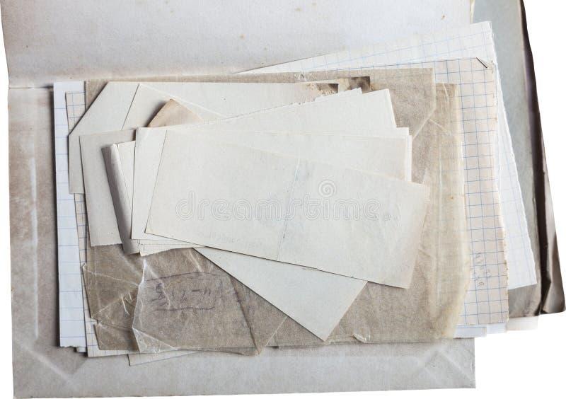 Stary papier odizolowywający na bielu zdjęcie stock