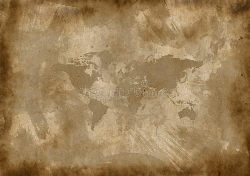 Stary papier z mapą obrazy stock