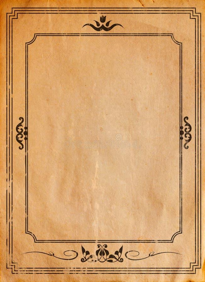 Stary papier z wzorzystą rocznik ramą zdjęcia stock