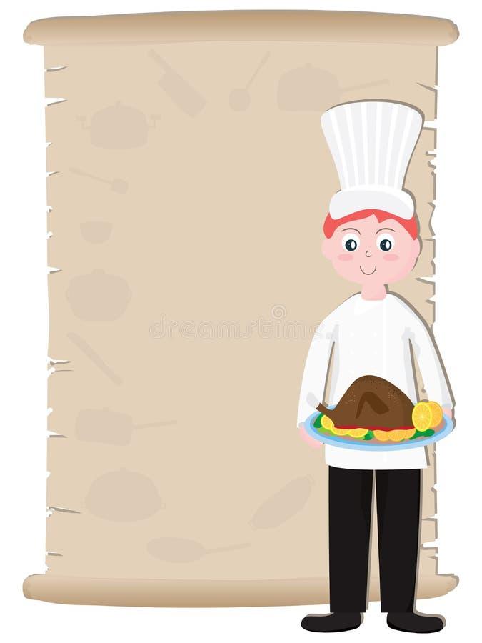 Stary Papierowy szefa kuchni przepis Menu_eps ilustracja wektor