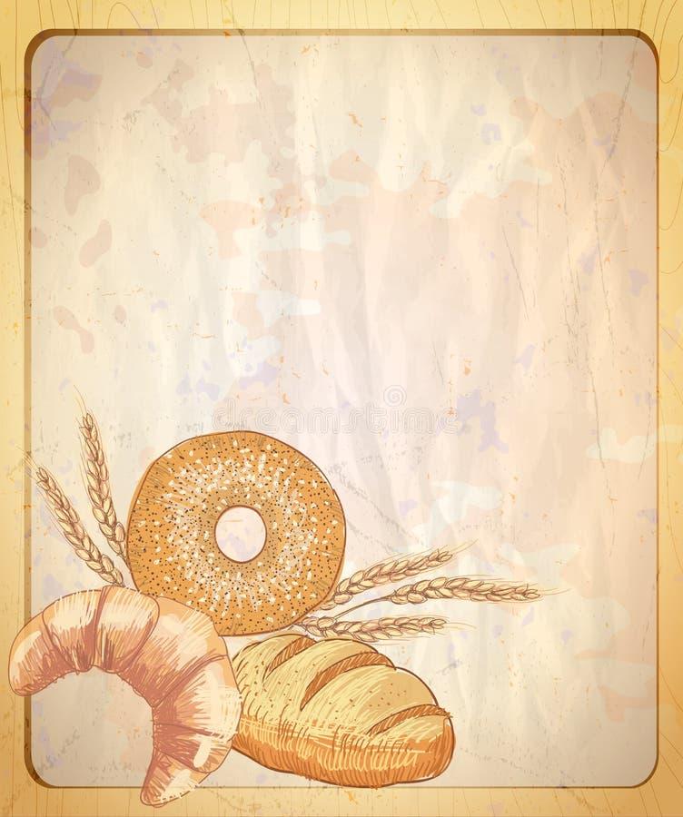 Stary papierowy tło z pustym miejscem dla teksta i ilustraci asortowany ciasto royalty ilustracja