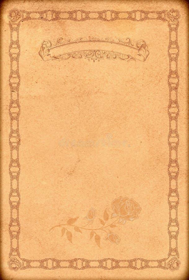 Stary papierowy tło z staromodną dekoracyjną granicą zdjęcie stock