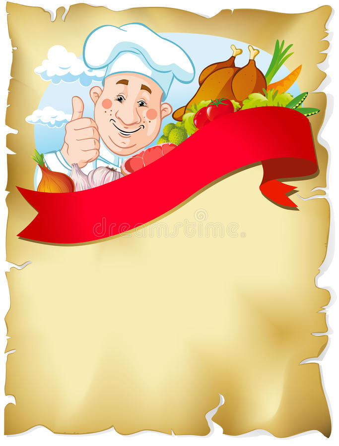 Stary papierowy tło z szefem kuchni i jedzeniem royalty ilustracja
