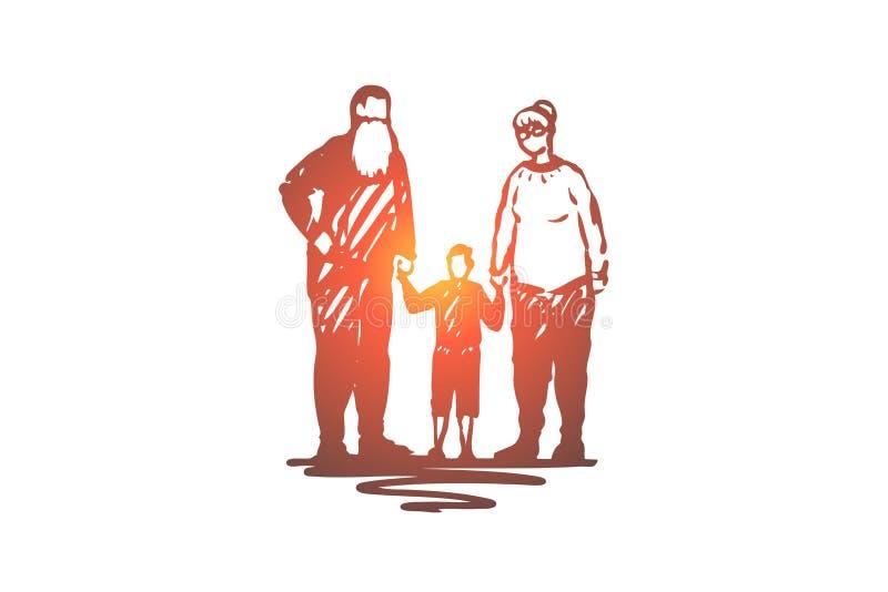 Stary, para, wnuk, dziadkowie, miłości pojęcie Ręka rysujący odosobniony wektor ilustracji