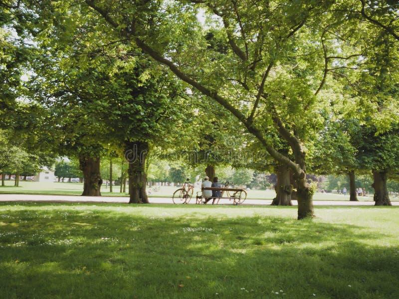 Stary pary obsiadanie w parku na ławce z bicyklu Kopenhaga miastem Dani obraz stock