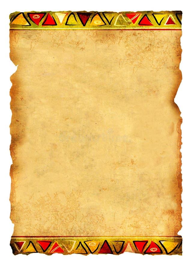 Stary pergamin z Afrykańskimi tradycyjnymi wzorami ilustracja wektor