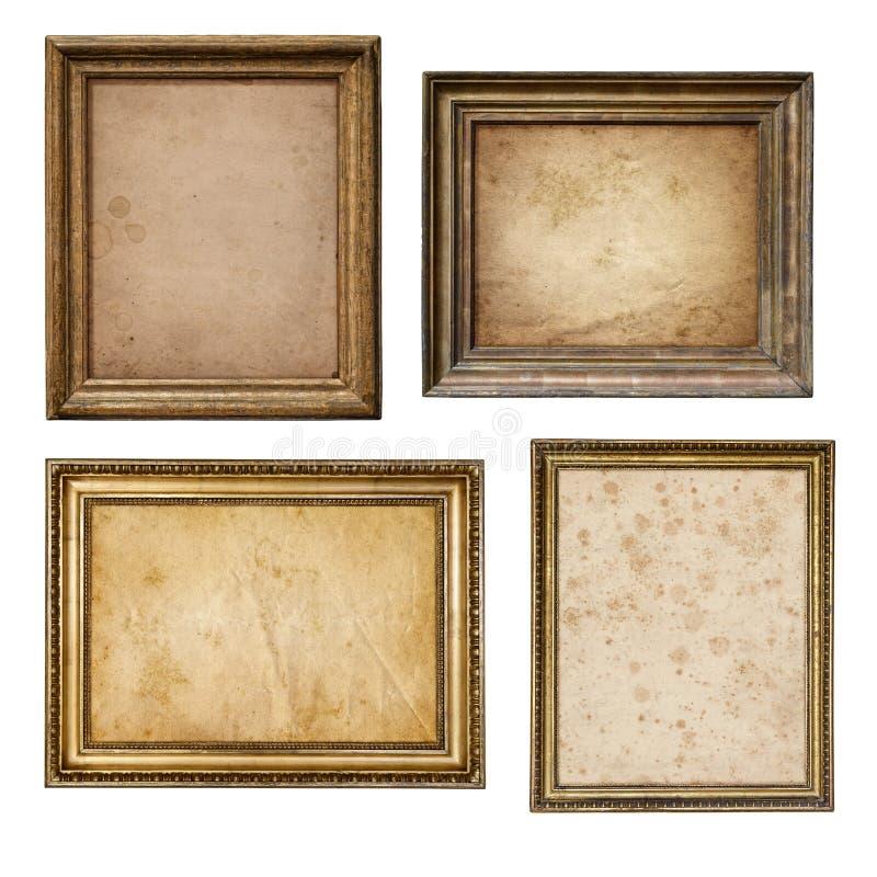 Stary pergaminowy papier w rocznika drewna ramy kolekci nieociosanym isol obrazy stock