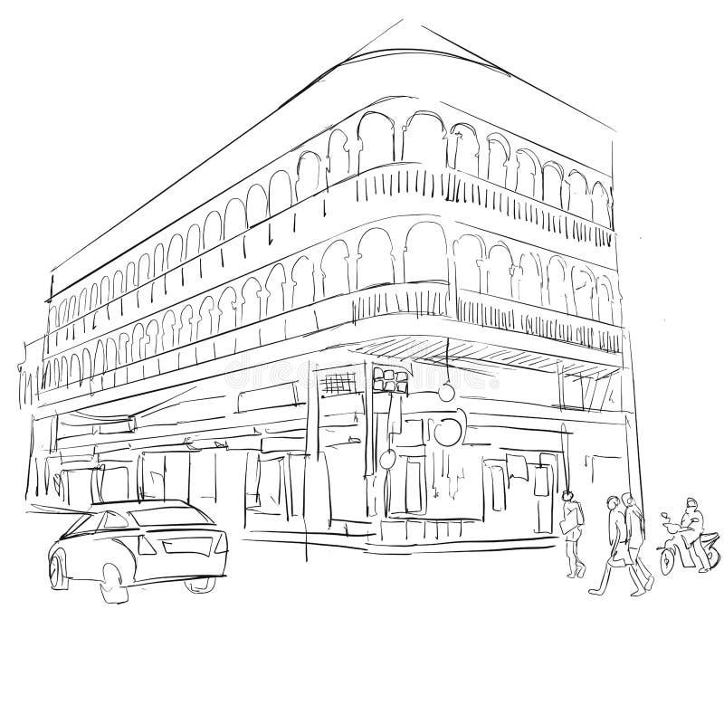 Stary Phuket miasteczko, Dziejowy budynek ilustracja wektor