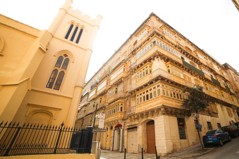 Stary piękny dom w centre stolica Valletta w Malta zdjęcie royalty free