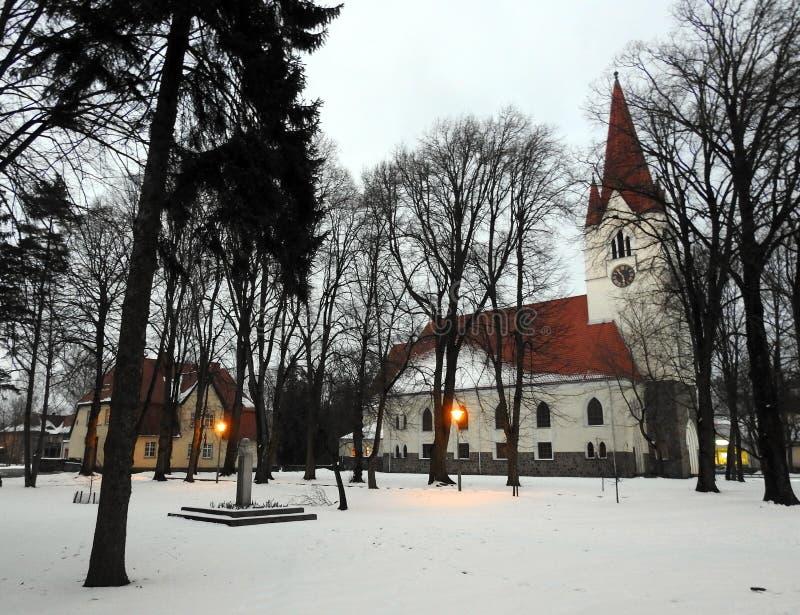 Stary piękny lutheran kościół, Lithuania obrazy stock