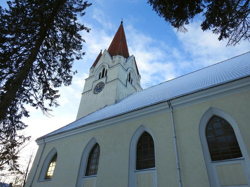Stary piękny lutheran kościół, Lithuania fotografia stock