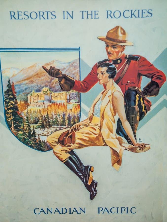 Stary plakat kanadyjczyk Pacyfik zdjęcie royalty free