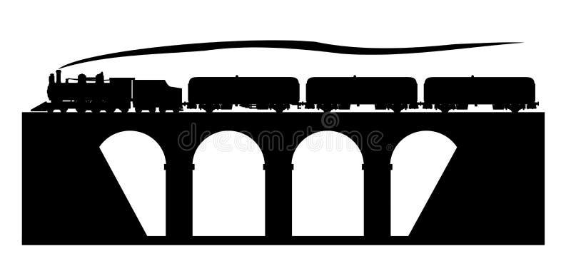 Stary pociąg na moscie ilustracja wektor