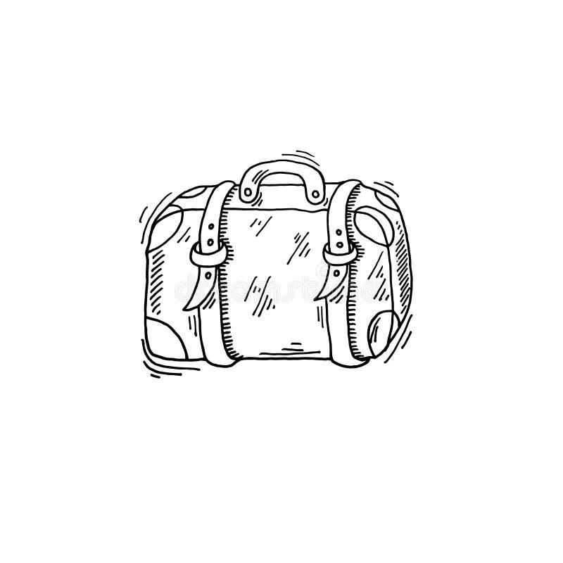 Stary podróży skrzynki nakreślenia rysunku ikony lato o temacie ilustracji