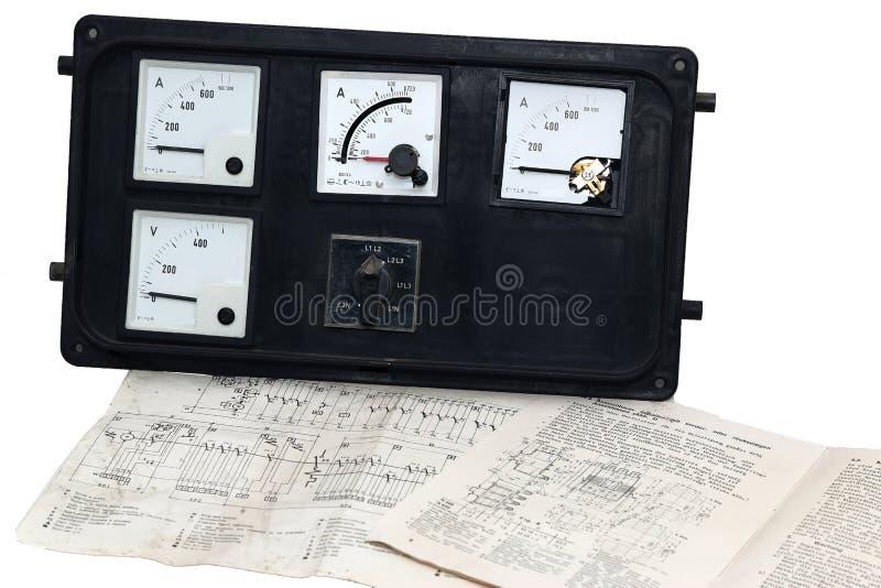 Stary pokazu panel dla prądu, woltażu i obwodu diagrama zdjęcie stock