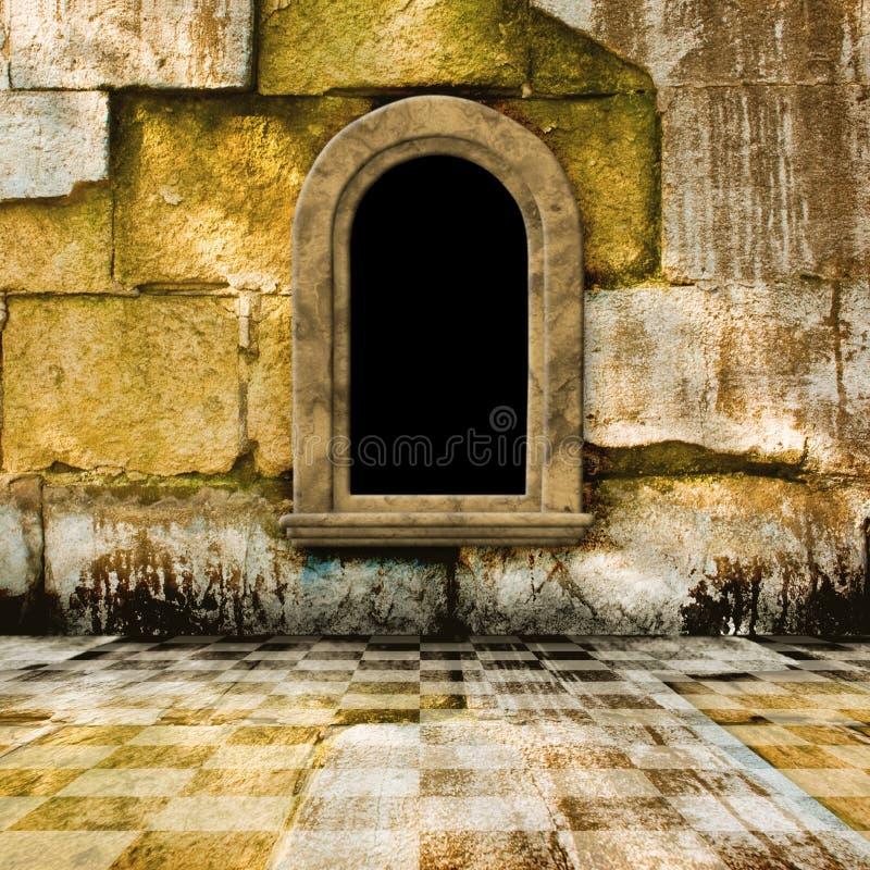 stary pokoju kamienia okno royalty ilustracja