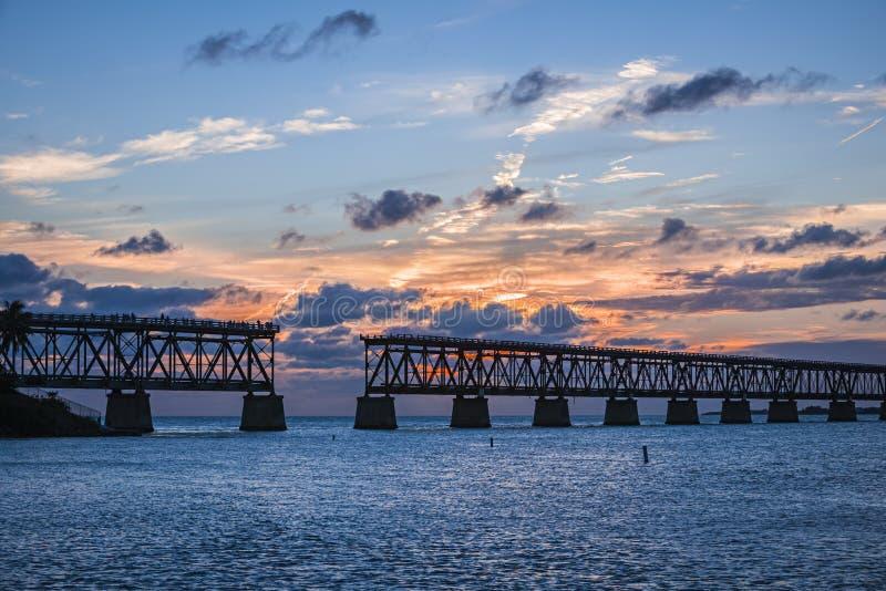 Stary poręcza most przy Floryda kluczami zdjęcia royalty free