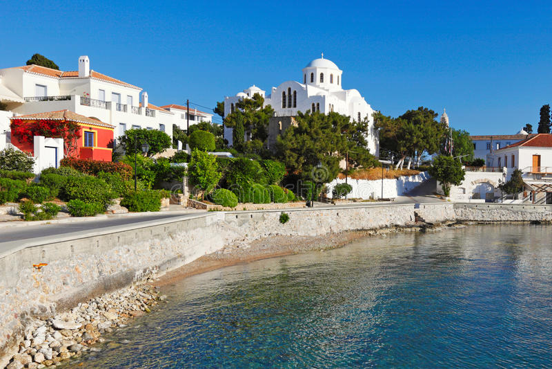 Stary port Spetses, Grecja fotografia royalty free