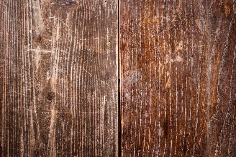 Stary porysowany dębowy stołowy wierzchołek obrazy stock