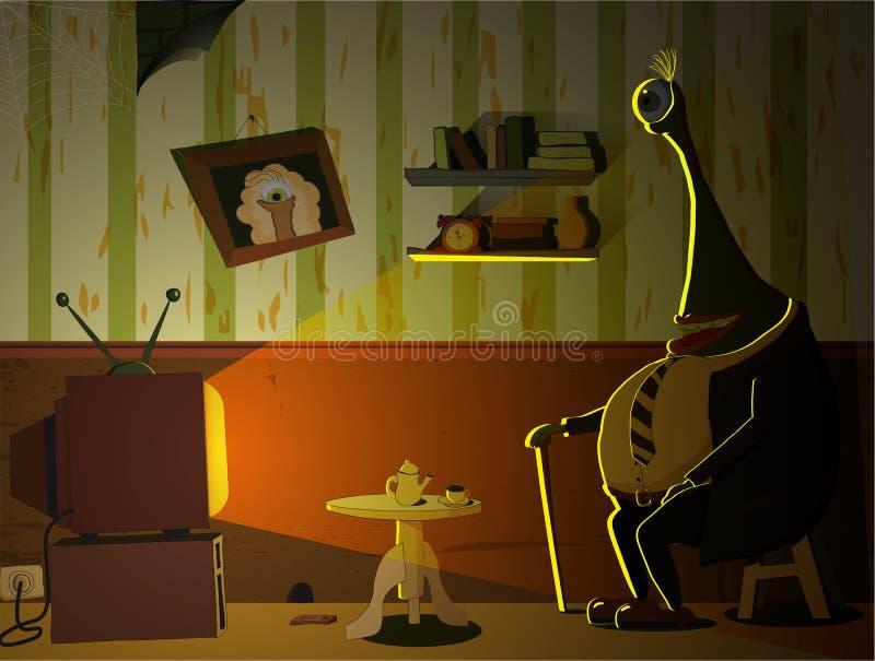 Stary potwór ogląda TV zdjęcie stock