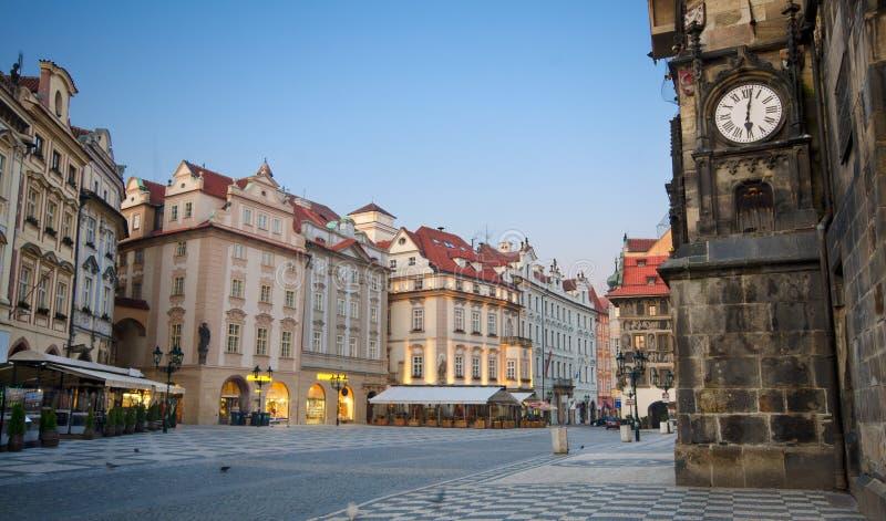 stary Prague kwadratowy wschód słońca miasteczko obraz stock