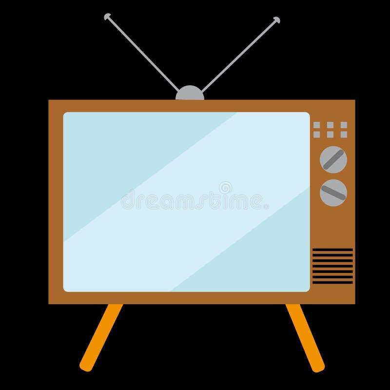 Stary, prostokątny, retro, rocznik, modniś TV z wypukłym kineskopu ekranem na czarnym tle royalty ilustracja
