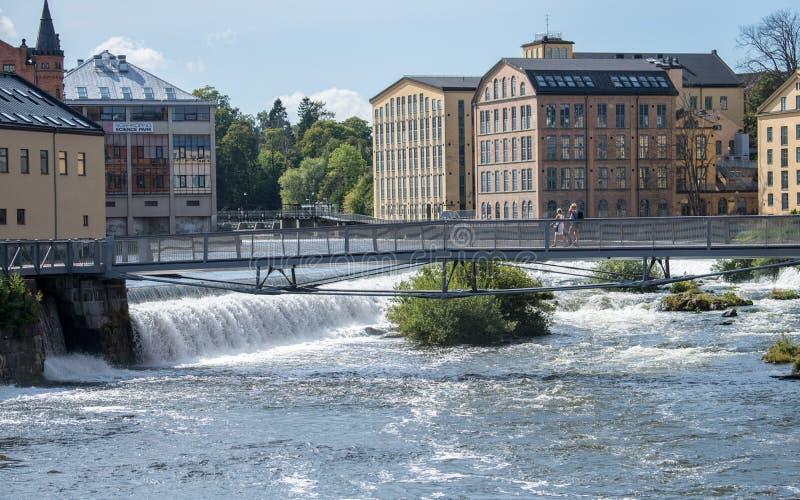 Stary przemysłowy krajobraz w Norrkoping, Szwecja fotografia stock
