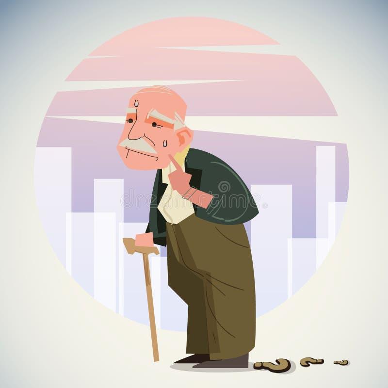 Stary przygnębiony mężczyzny spacer samotnie zestrzela ulicę z chodzącym kijem, przegrany sposób stwarzać ognisko domowe fotografia royalty free