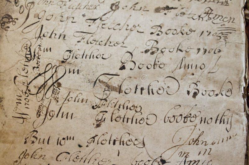Stary rękopiśmienny writing fotografia royalty free
