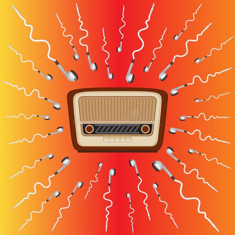 Stary radio otaczał hełmofony aspiruje ono royalty ilustracja