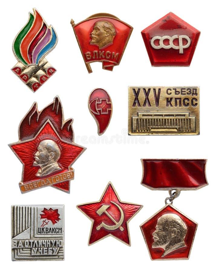 Stary Radziecki komunistyczny ikona set Artek VLKSM - Lenin młodości organi obrazy stock
