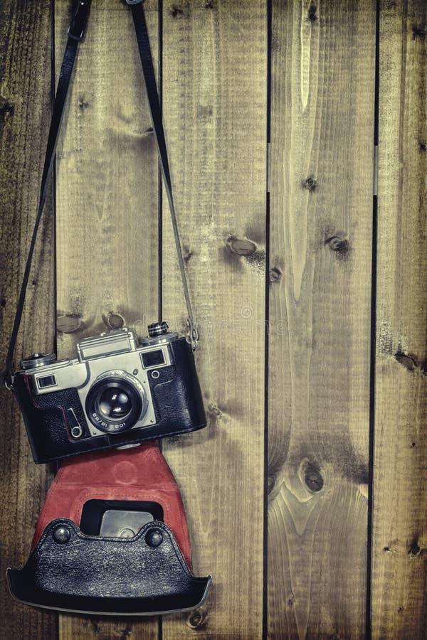 Stary rangefinder rocznik i retro fotografii kamera z rocznika koloru skutkiem obraz royalty free